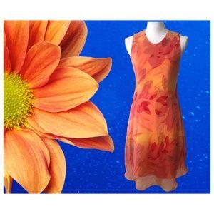 Floral Orange Casual Dress- Women's Size 8